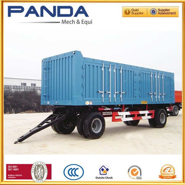 Pandamech Tandem Axle Box Full Trailer Truck With Drawbar For Sale