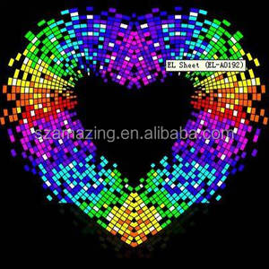 Colorful Heart design EL glowing equalizer flashing sticker with 4pcs AAA battery inverter
