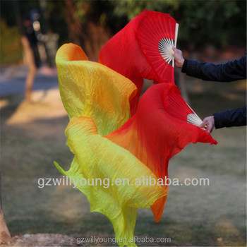 Belly Dance 100% Real Silk Fan Veils, 1.8M, Belly Dance Silk Veils, RED/ORANGE/YELLOW, Fire Color