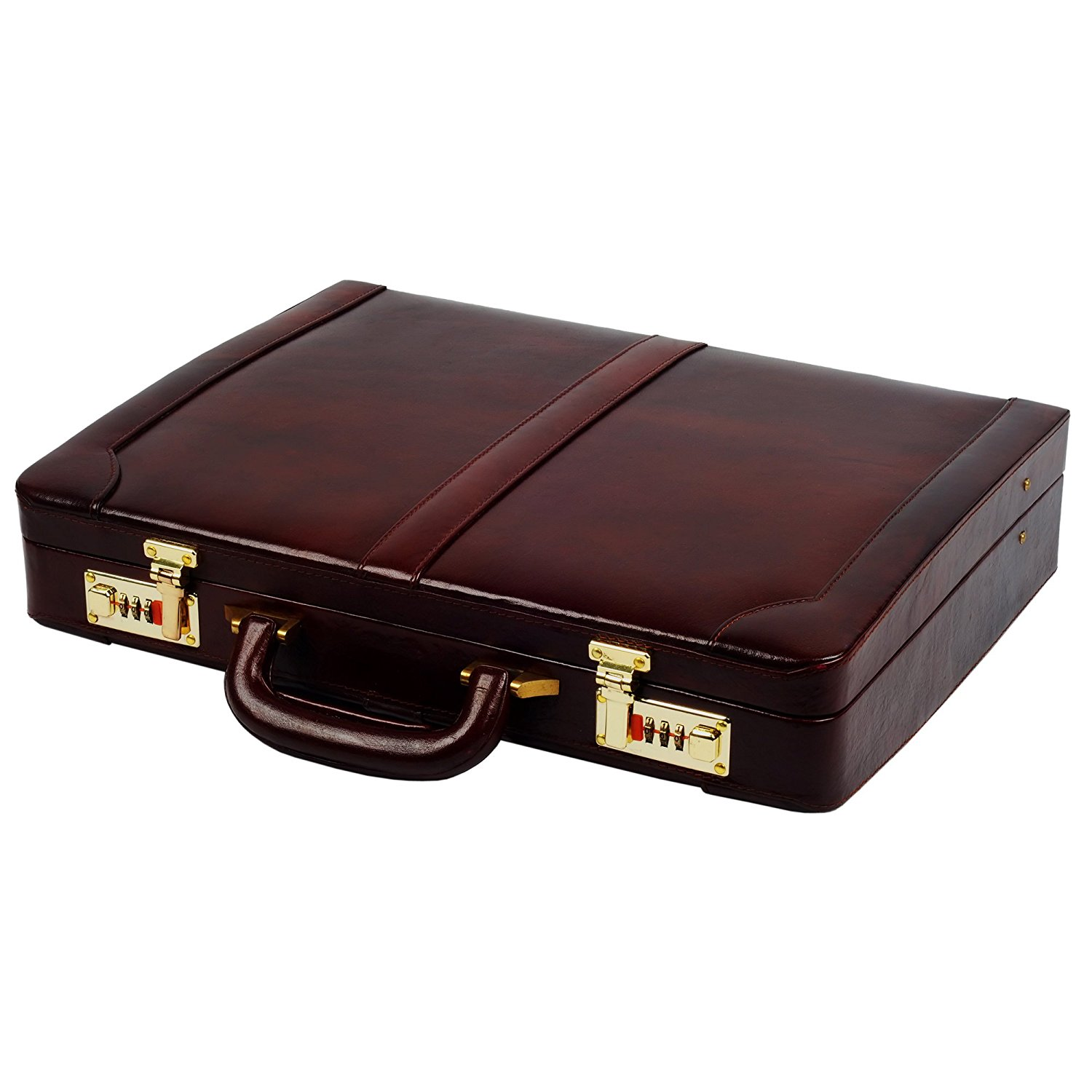4757ca6a7c50 Get Quotations · Zint Men s Genuine Leather Hard Briefcase Attache -  Vintage Style