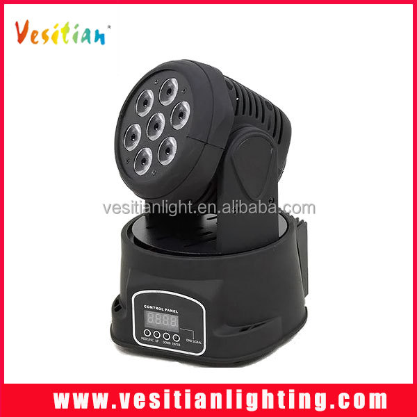 Fast Shipping7x10w rgbw 4in1 Led Mini DMX512 Moving Head Beam stage lights