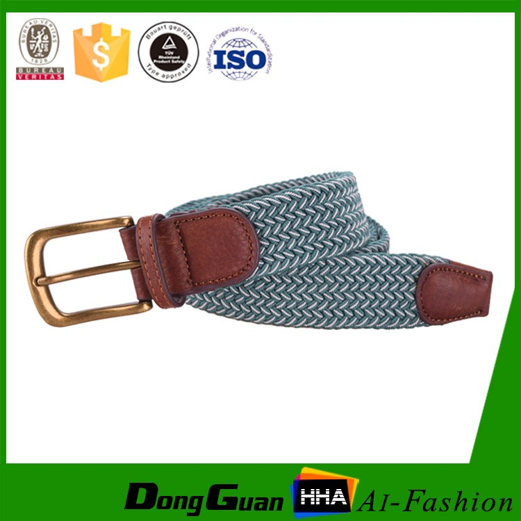 Mens Casual Woven Stretch Braided Elastic Leather Belt