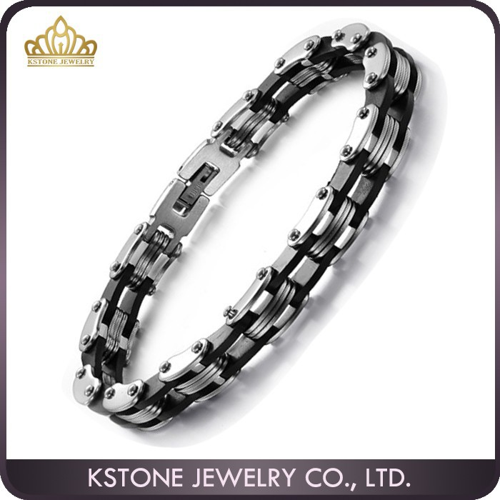 KSTONE 2015 Best Selling 316L Stainless Steel Black Silicone Bracelets for Man
