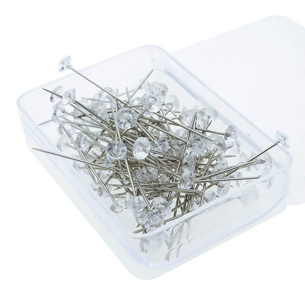 Moreyball 100PCS Clear Round Pearl Head Pins Rhinestone Diamante Wedding Corsage Bouquet Pins White