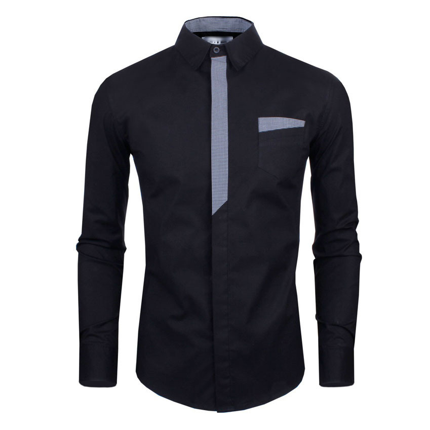 bc55f5ac6ac32 Get Quotations · New Arrival 2015 Stylish Cheap Mens Shirts Front Patchwork  Designer Slim Fit Casual Men Shirt Long