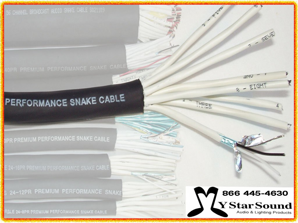 8 Pair Snake Wire / Cable USA Made - 24 Gauge Premium Performance (Sold in 10 Ft Increments)