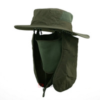 Boonie Fishing Hiking Army Military face cap Ear neck Flap Snap Bucket Sun Hat With Neck Cover