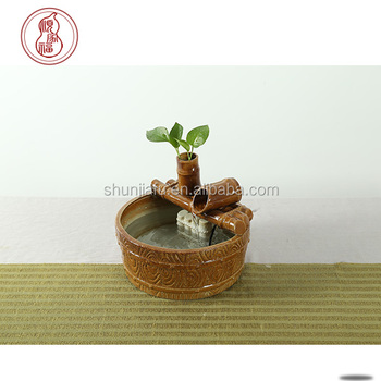 Ceramic Small Table Water Fountain Bamboo Design