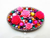 metal round folding makeup mirror with bling rhinestone