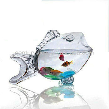High Quality Home Decor Glass Fish Shaped Bowl