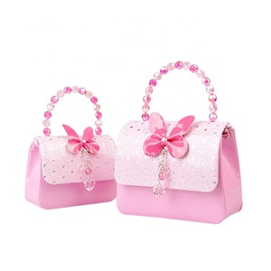 Colorful butterfly beads hand bag easy to use womens cute small mini lovely kids hand bag for girls