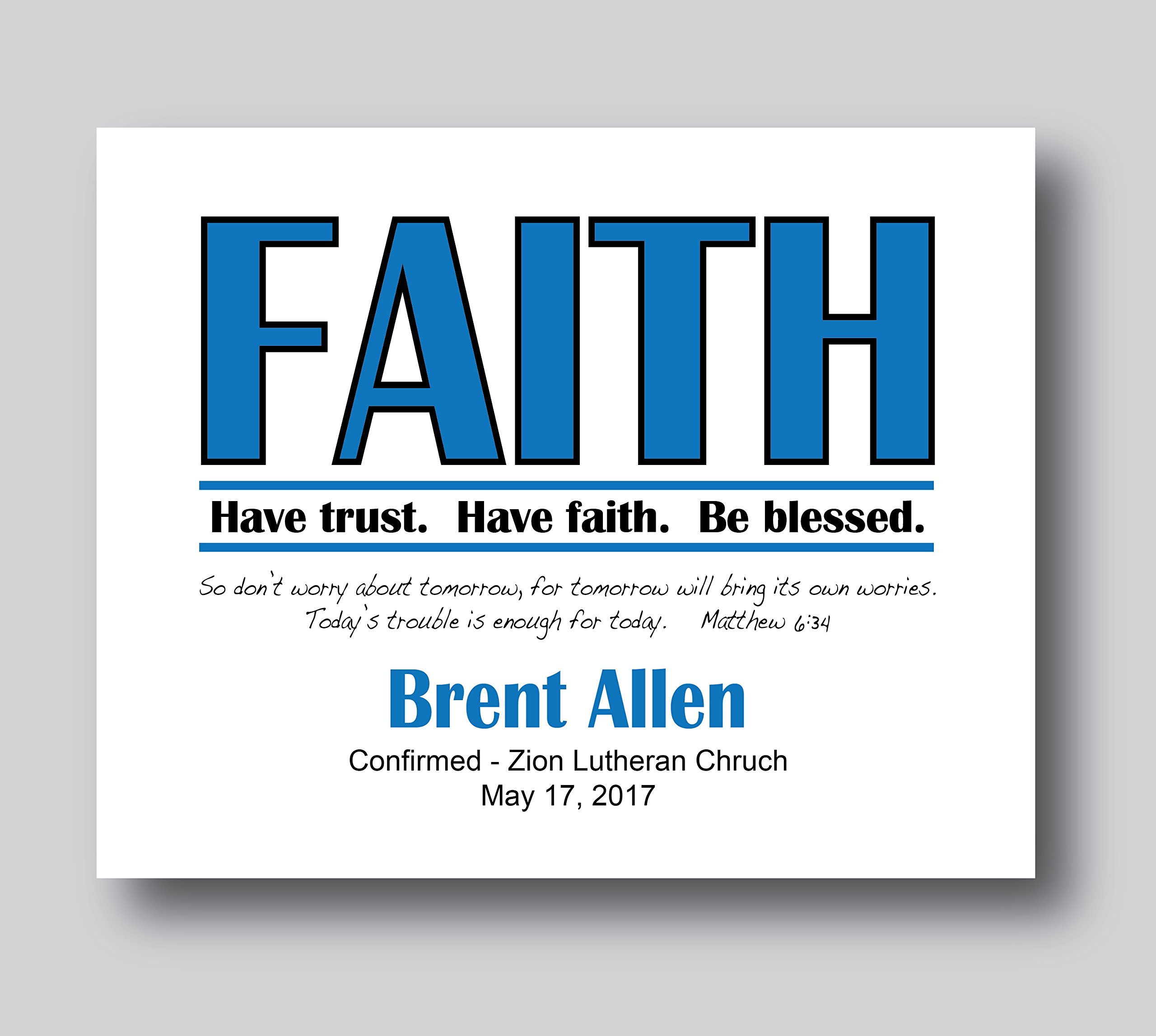 Get Quotations · Personalized Communion Gifts, Confirmation Personalized, 8x10 or 11x14 Print Only, Catholic Confirmation Gifts