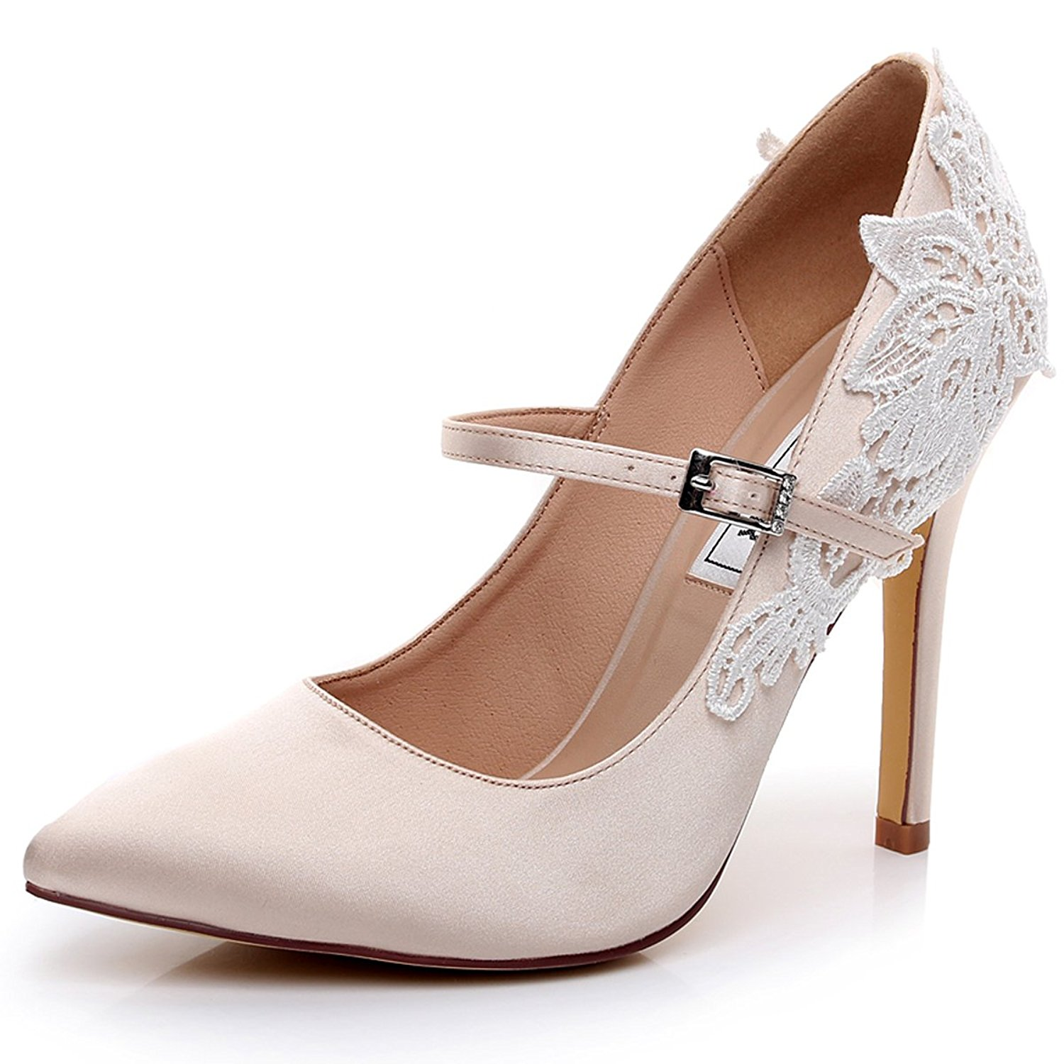 dddc0fcbe5d Get Quotations · LUXVEER Satin Wedding Shoes Sexy Women Shoes with Lace  Flowers Bridal Shoes High Heel Evening Shoes