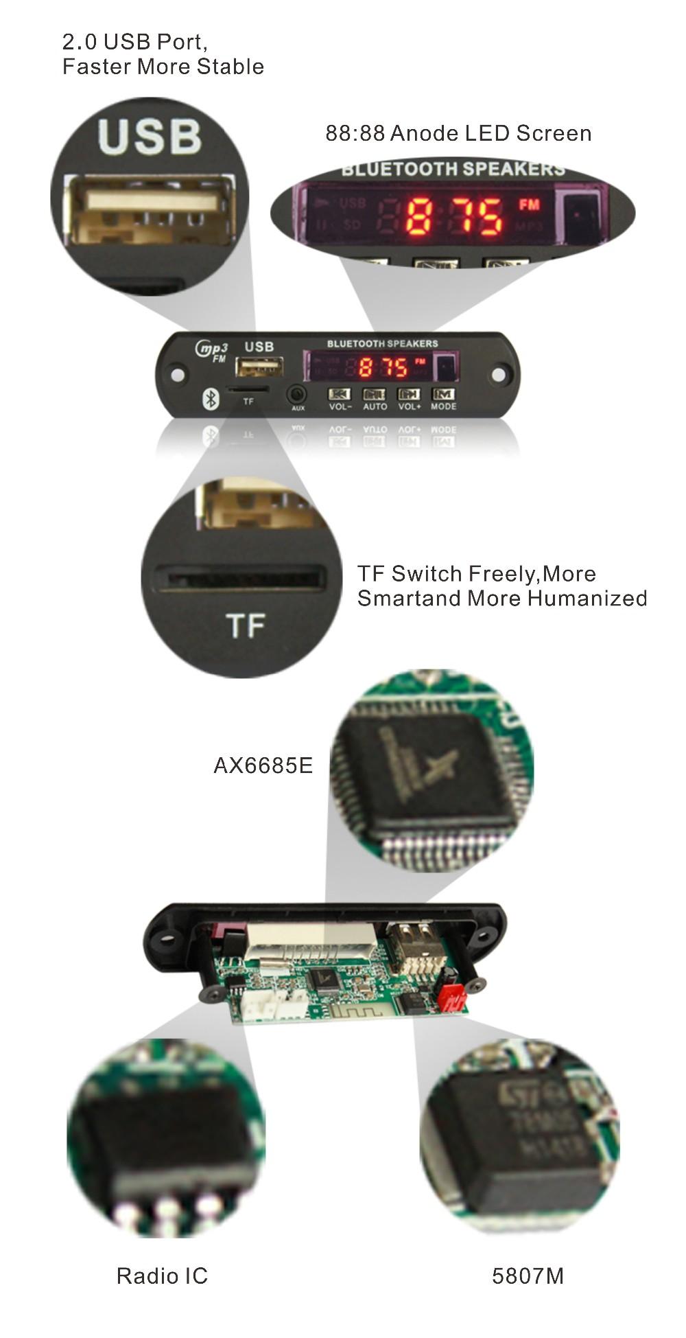 Hot Sale Mp3 Bluetooth Circuit Boardusb Radio Fm Player Decoder Usb Diagram Module For China