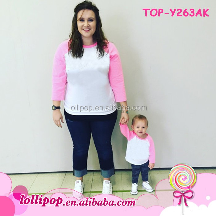 Boutique Baseball Jersey Tee Shirts Wholesale Raglan Plain Custom Cheap 3/4 Sleeve Mommy and Me Girl Outfit Adult Raglan T shirt