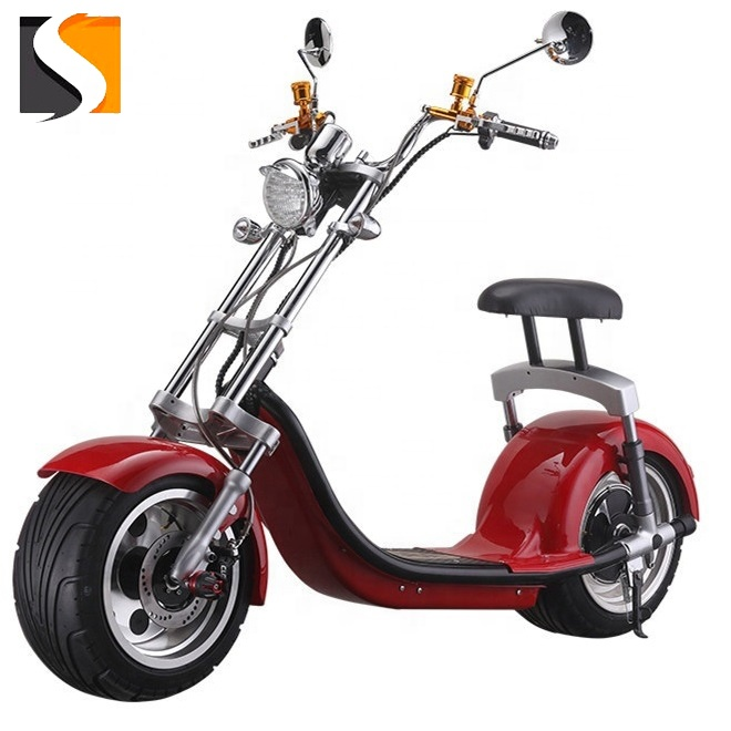 top sale EEC certificate electric scooter wide wheel dual motor 1500w 20ah lithium battery with back sit citycoco, Customized