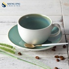 250Ml Coffee Cup Set Green Coffee Cup And Saucer