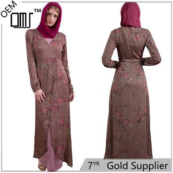 a453bf8d7b6 Slim Muslim Women Long Sleeves Maxi Dress Pink Print Chiffon Kaftans Abaya Latest  Designs