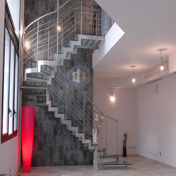 Modern Stainless Steel Curved Stair / Residential Circular Staircases
