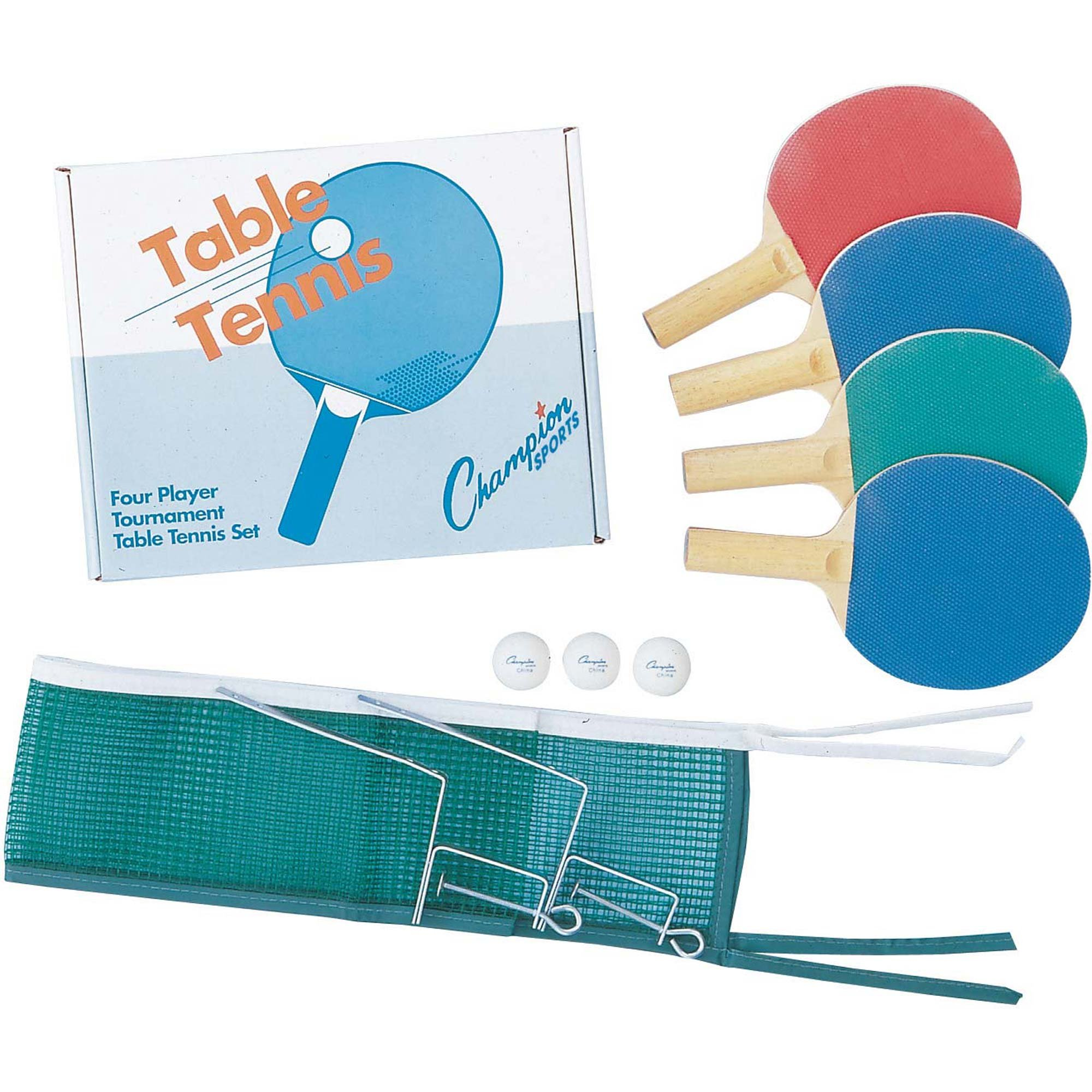 Champion Sports Table Tennis Set: 2 & 4 Player Ping Pong Accessories Kit with Paddles & 3 Balls - Indoor Ping Pong Equipment for Men, Women & Kids