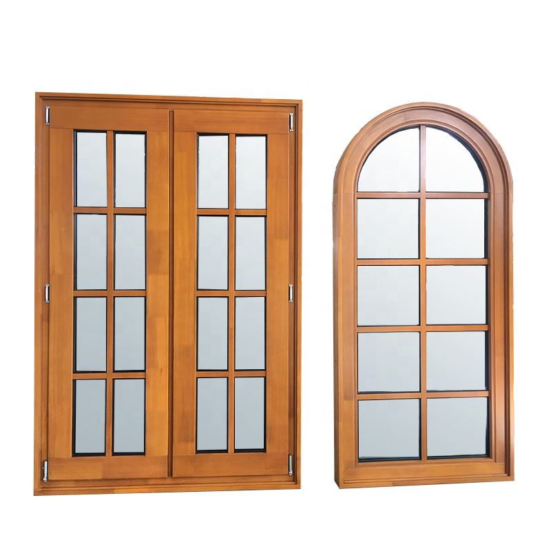 American aama nfrc pine larch wood IGCC glass grill design fixed corner windows double french push out window