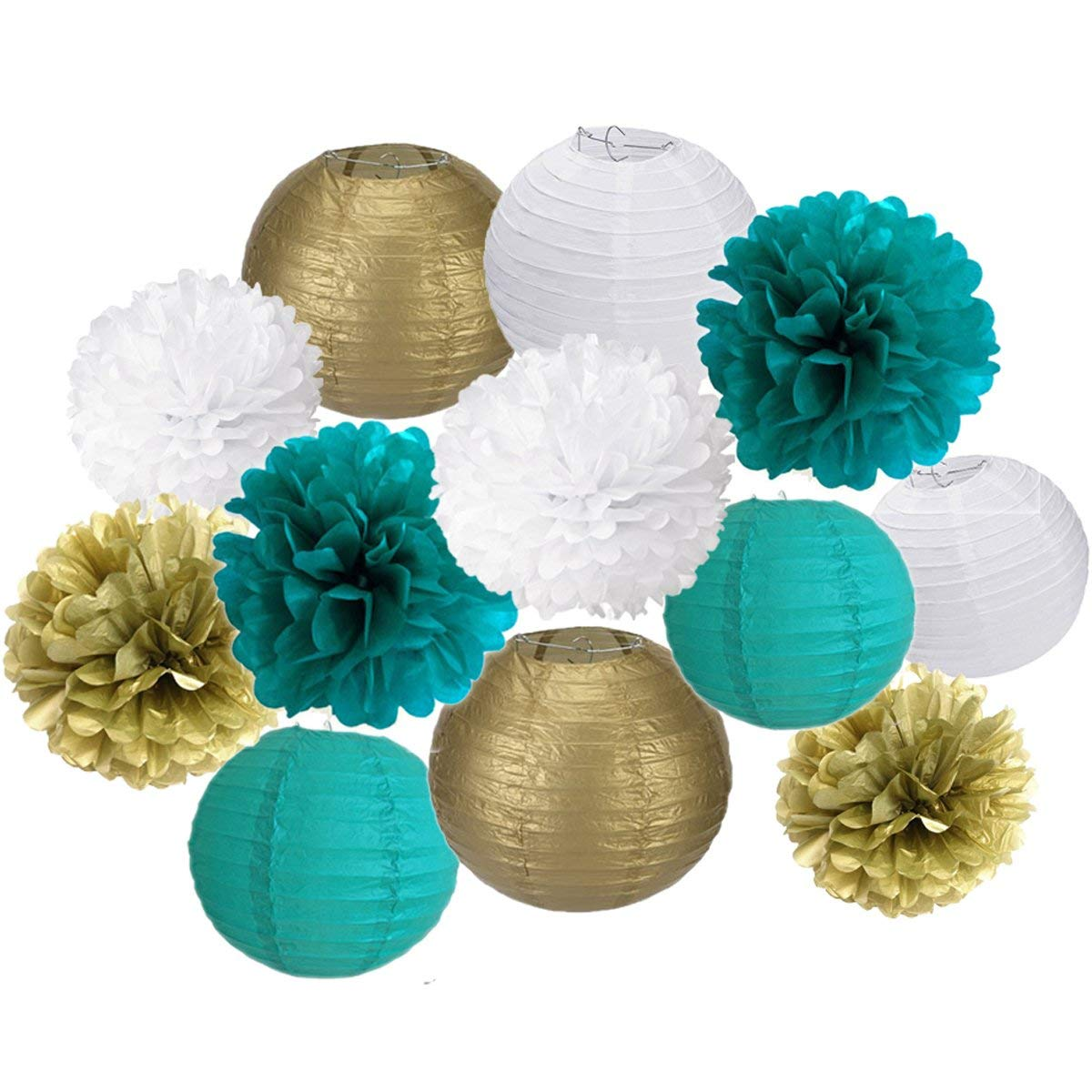 Cheap baby shower flower centerpieces find baby shower flower get quotations 12pcs teal gold white party tissue paper pom poms paper lantern ball for wedding birthday baby izmirmasajfo