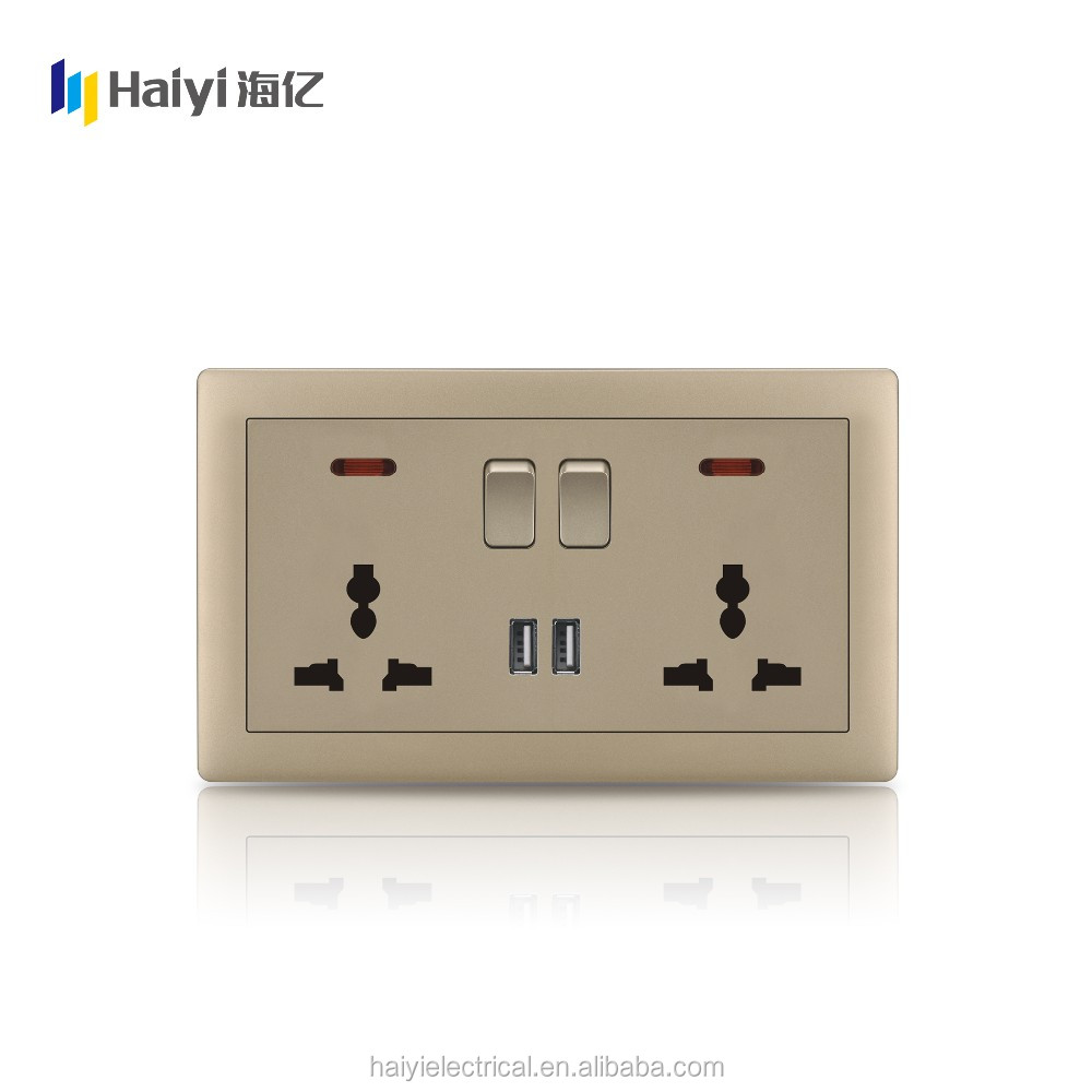 Wenzhou Haiyi EU UK Double13A Socket 2 USB Power Switch Wall Outlet