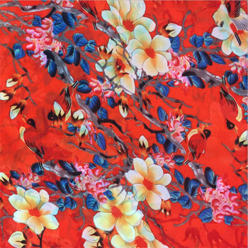 Newest name of non woven polyurethane coated polyester fabric flower printed chiffon