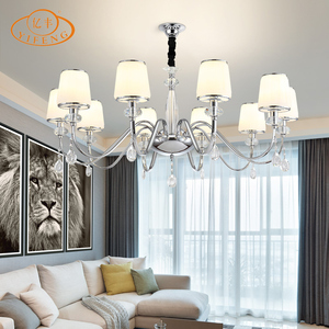 E14 LED Restaurant Lights K9 Crystal Glass Lampshade European Style Hall Chandelier and Pendants Light Home Decorate Lamp