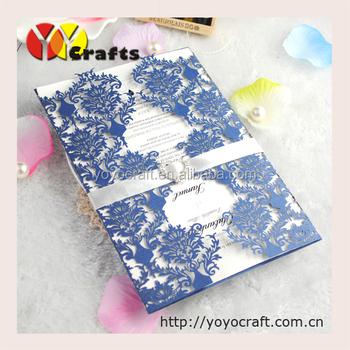 english luxurious wordings wedding invitation card printing price with sea blue color - Invitation Card Printing