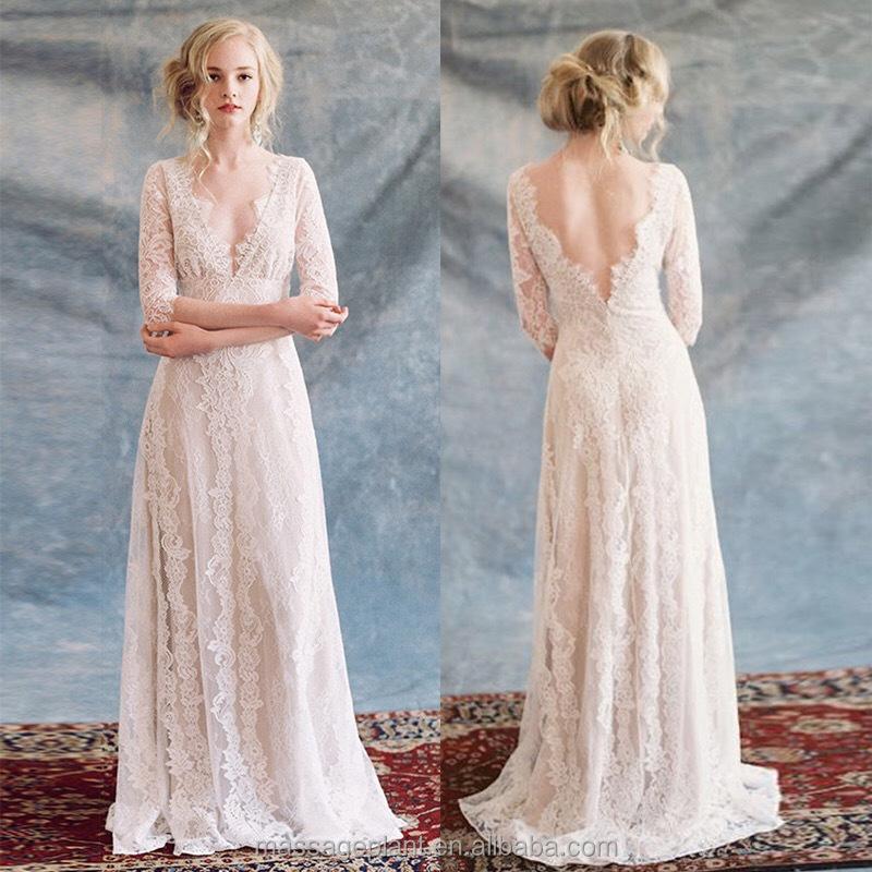 Bridal gown unique wedding gown simple bride dress lace boho wedding dress