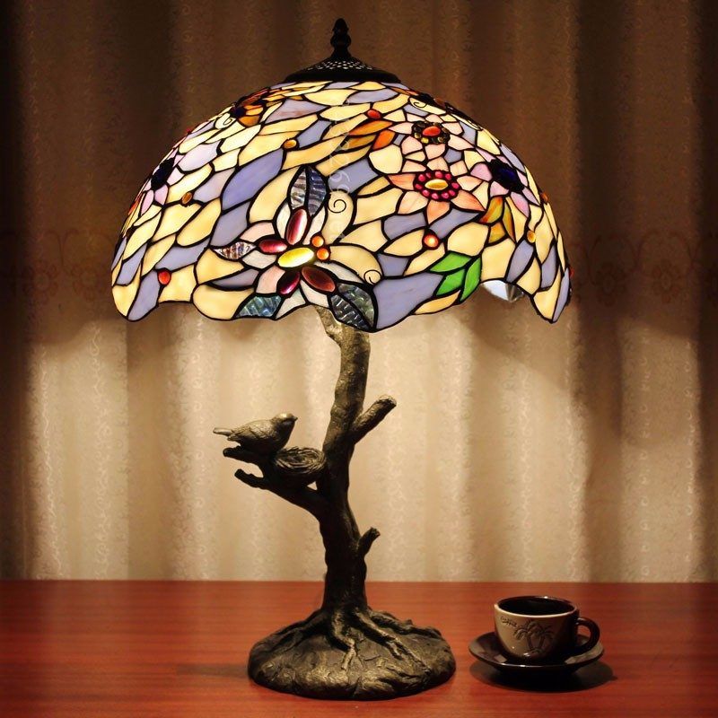 Tiffany warm table lamp living room restaurant sofa light bar hotel club decorative table lamp