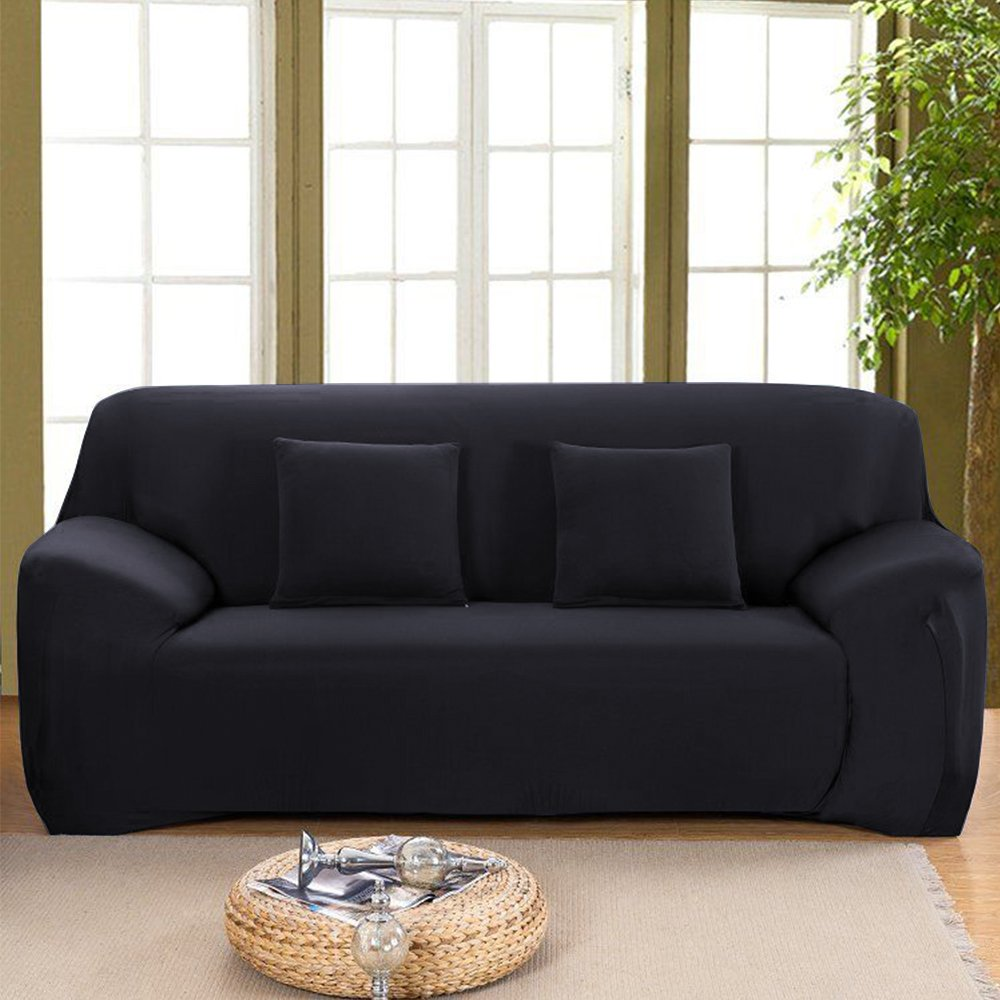 """Stretch Seat Chair Covers Couch Slipcover Sofa Loveseat Cover 9 Colors/4 Size Available for 1 2 3 4 Four People Sofa + Pillowcase (57""""-72""""/2 Seater, Black)"""