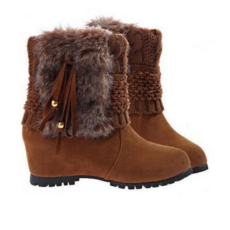 2015 Womens Winter Boots Faux Suede Boots Fringe Women