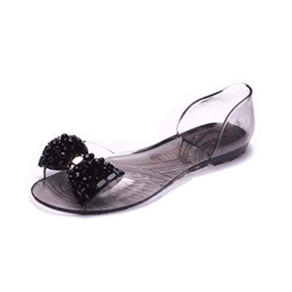 08fda00adba Get Quotations · Women s Clear Jelly Butterfly Sparkle Glitter Bling Sandals  Flat Sandals Bowknot Transparent Peep Toe Slippers