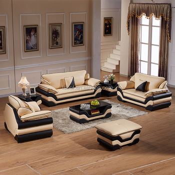 L Shaped Sofa With Corner Table And Leather Side Tables Whole Set
