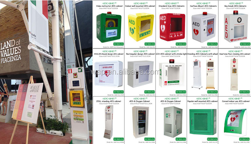 Wap'r Metal Wall Mount Aed Cabinet With Alarm And Strobe Light ...