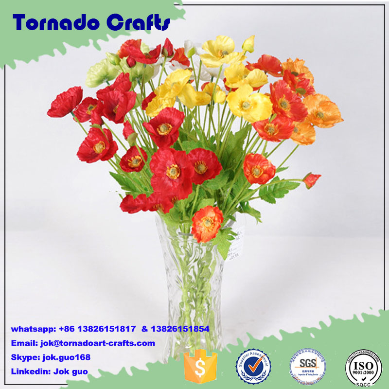 Tornado Crafts High quality poppy flowers artificial flower for home decoration