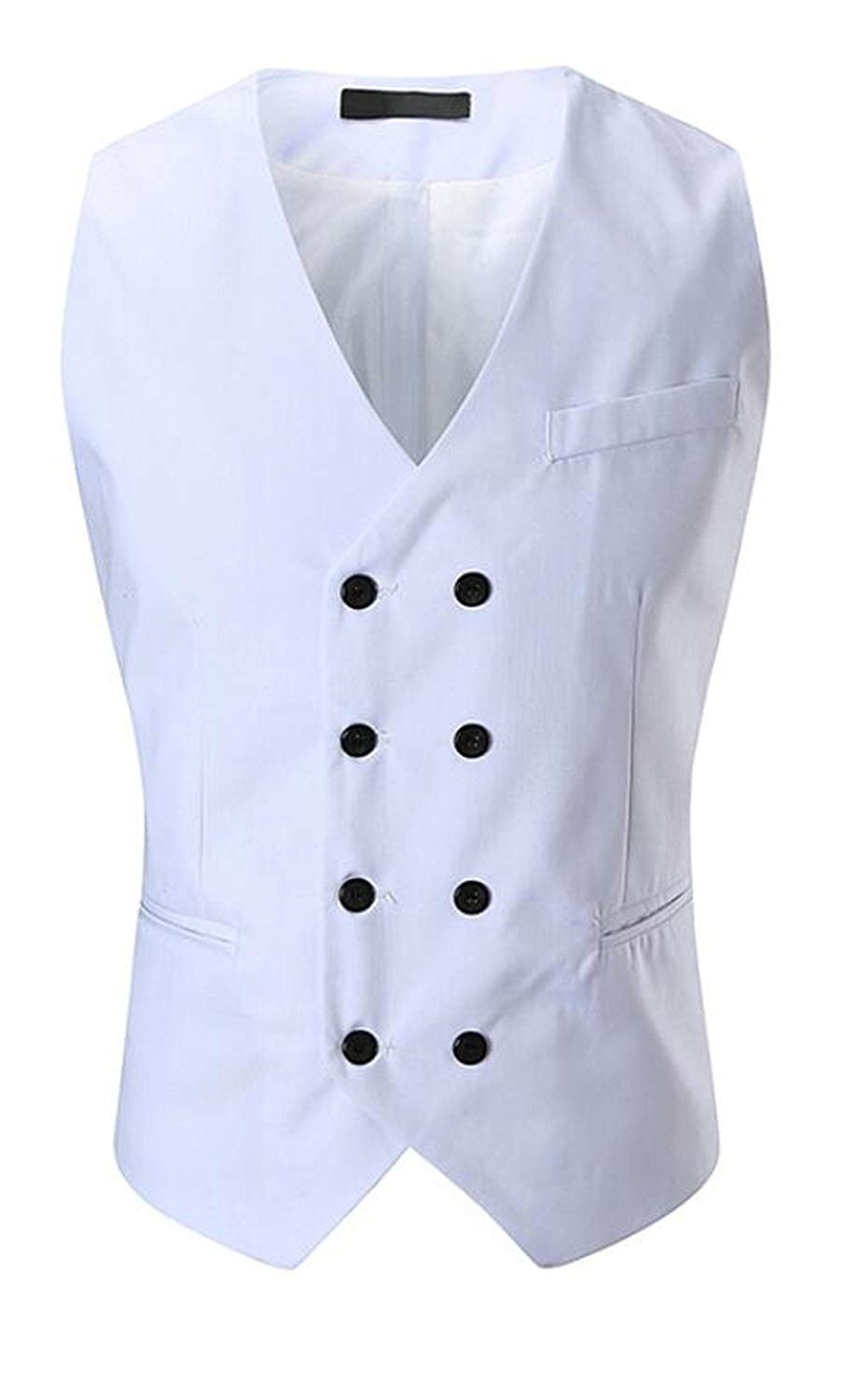 Pivaconis Mens V-Neck Sleeveless Suit Vest Double-Breasted Formal Blazer Waistcoat