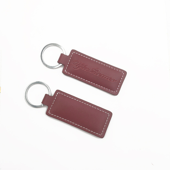 Custom engraved logo metal leather keychain, luxury keychain leather keyring with logo