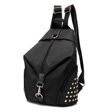 Fashion Women Water-Proof Nylon Backpack Grab Handle Zip Fastening Pockets Travels School Bags