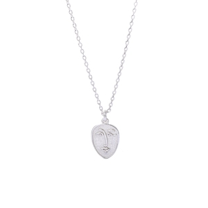 Fashion 925 sterling silver face shaped coin pendant necklace for girls