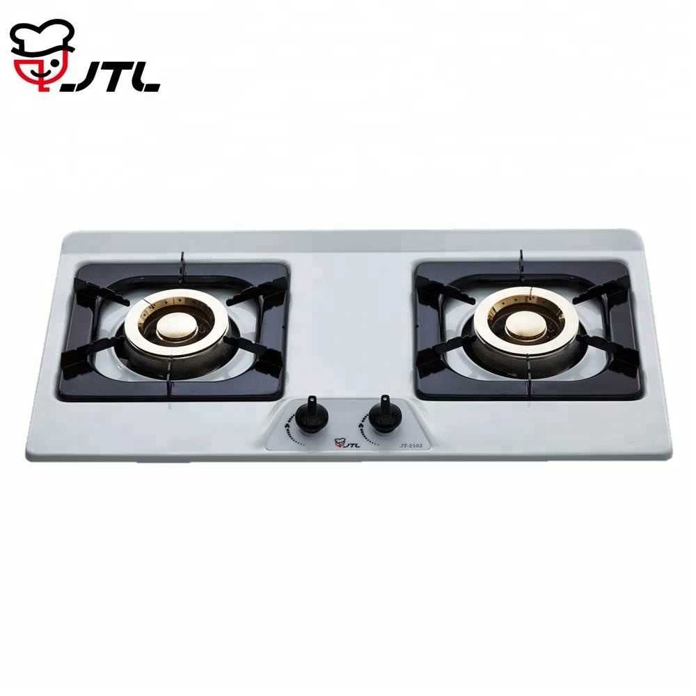 2 Burner Enamel And Stainless Steel Panel Gas Hob