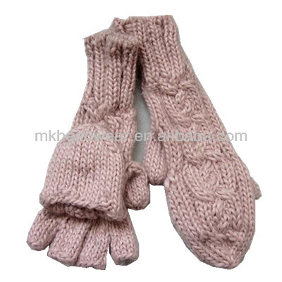 Fashion 100% Acrylic Knitted Cheap Winter Half Finger with Cap Gloves