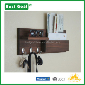 Mail Holder with Key Hooks and Shelf Wall Organizer
