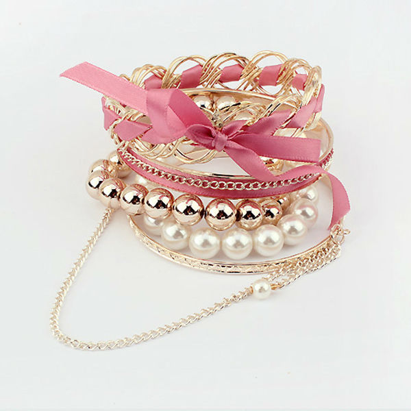 Wholesale kids charm bracelets plum fabric fashion bracelet gold plated artificial pearl bangles PB1758