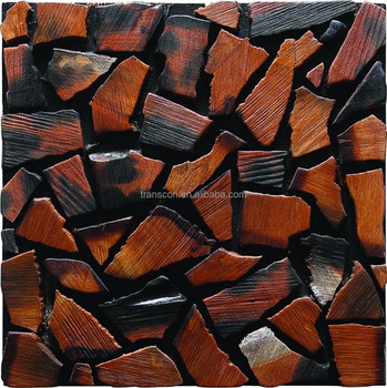 Restaurant Interior Decorator Wall Panel Old Ship Wood Mosaic Tile ...