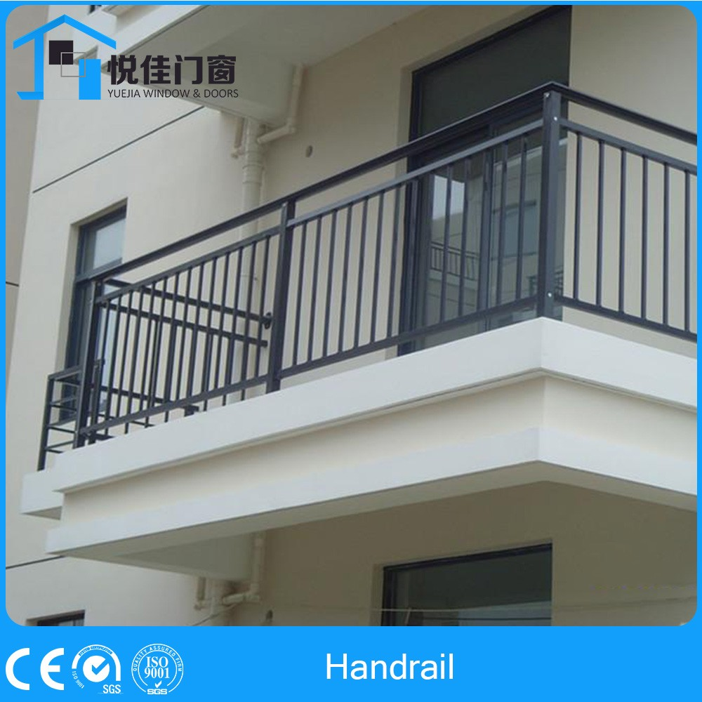 Fancy wooden stair railing balcony designs with safe door for Terrace railing design