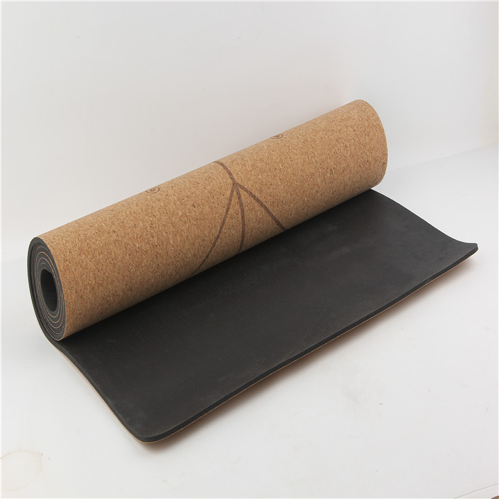 Borracha natural de volta eco cortiça tapete de yoga para exercitador antiderrapante yoga mat eco friendly