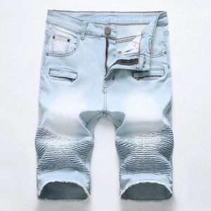 Summer Denim Shorts Male Jeans Men Jean Bermuda Skate Board Harem Mens Jogger Ruched Ripped Jeans 42 Y11445